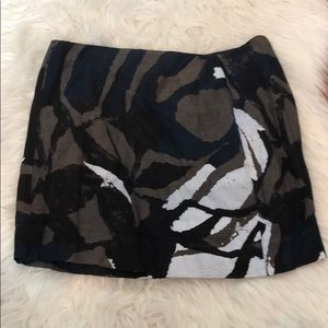 Vince Abstract Mocha Black White Navy Mini Skirt